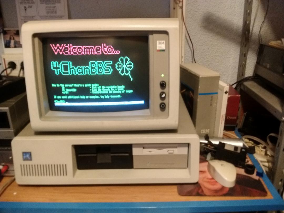 Retro IBM computer running 4Chan BBS